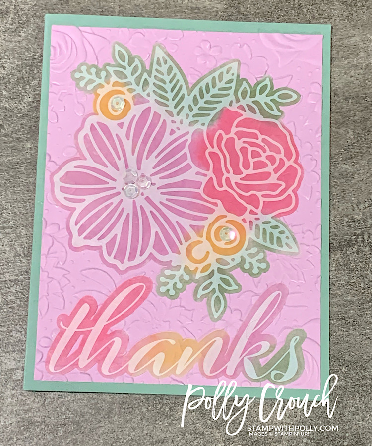 This is an alternative card made with the June Paper Pumpkin kit. It has a Soft Succulent card base with a floral embossed Fresh Freesia card front and an ink colored vellum floral cutout with a vellum Thanks sentiment.