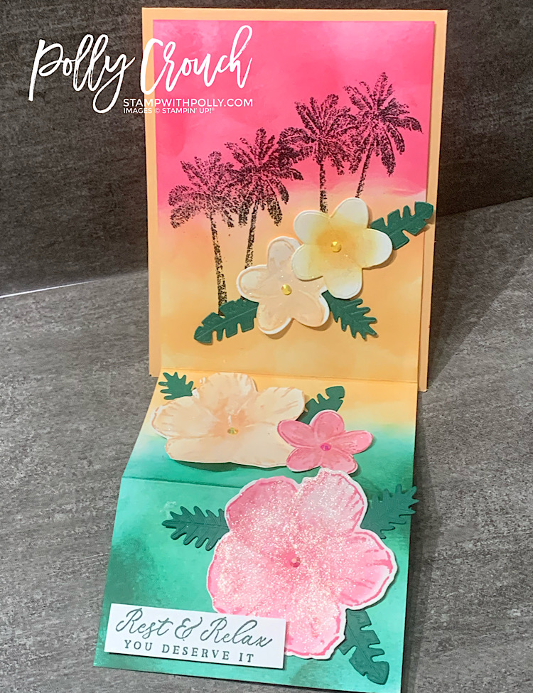 This is the fun fold card fully opened to show the sunset background and all the flowers.