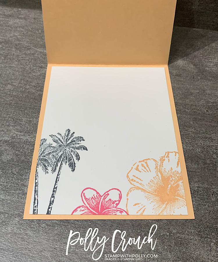 This is a photo of the inside of the card stamped with black palm trees and flowers on Polished Pink and Pale Papaya.