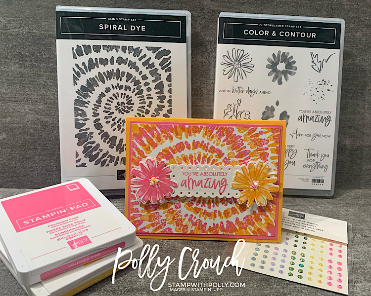 This is a image of the finished Spiral Dye Card along with the stamp set and the Color and Contour bundle.  Also included are the Polished Pink and Mango Melody ink pads and In Color Jewels.