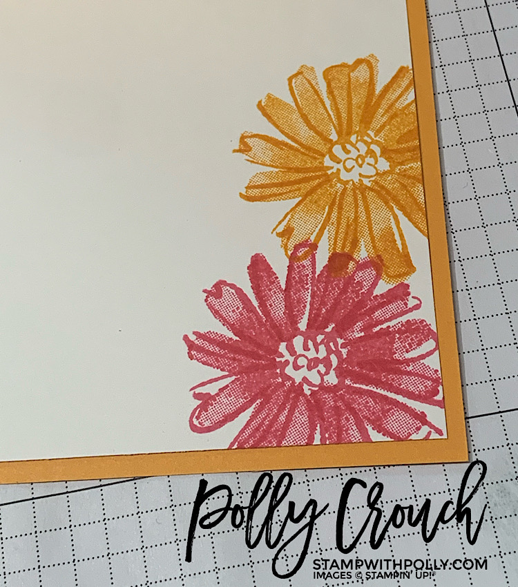 This is an image of the inside of the card stamped with a daisy stamp from Color & Contour In Mango Melody and Polished Pink.
