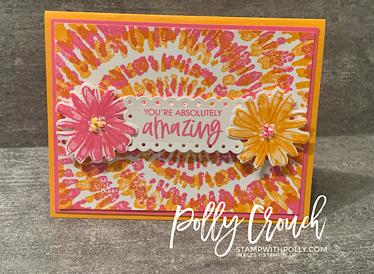 This is a picture of the finished product.  A Mango Melody, Polished Pink and Basic White card stamped the Spiral Dye background stamp and Color & Contour bundle.